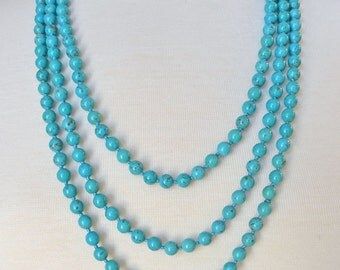 """80"""" 8MM turquoise endless infity beaded long necklace"""