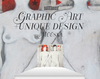 Müüska Design Bed with monumental contemporary artwork