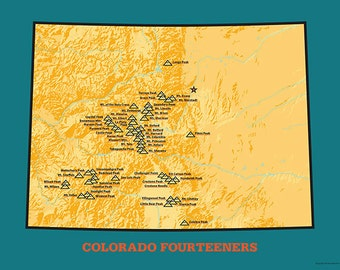 53 Colorado Ranked 14ers Map 18x24 Poster #404