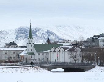 Winter photography, landscape photograph, village picture, Reykjavik, snowy print, fine art photography, framed print, mounted print, blue