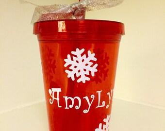 Holiday Personalized Name Christmas Santa Hat Snowflake Water Tumbler