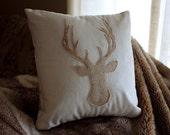 Rustic Deer Silhouette Applique Pillow