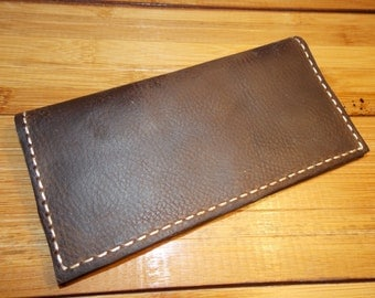 Leather Checkbook Cover / Men's Women's / Handcrafted Wallet / Made in the USA / Brown Checkbook / Handmade / Rustic / Indiana made