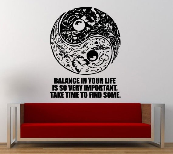 Floral yin yang symbol logo sign balance quote wall decal for Decoration murale yin yang
