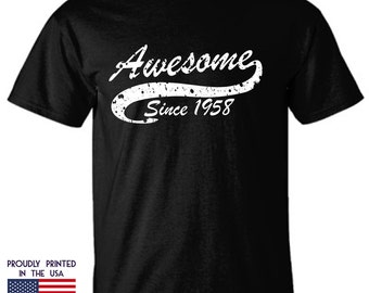 Awesome Since 1958 t shirt is a perfect 59th birthday gift