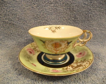 Cup And Saucer Rose Floral With Lots Of Raised Gold Decoration Ucagco Japan