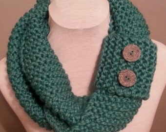 Teal Hand Knitted Infinity Scarf with Button Cuff.  Thick and Chunky.  Winter Accessories. Hand Knitted. Button Cuff.