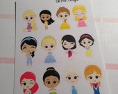 12 Princess Stickers (Perfect for Erin Condren Life Planner)