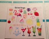 Summer Watercolor Stickers (Perfect for Erin Condren Life Planner)