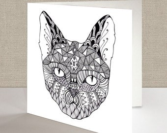 Cat Square Greetings Card