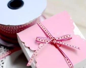 Zakka Red White and Pink thin stitched Cotton Ribbon 3m