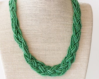 Green Braided Seed Bead Necklace