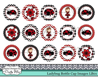 Ladybug Bottle Cap Images LB01: Instant Digital Download