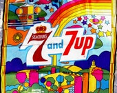 """Seagrams 7 and 7 Up Seven & Seven Psychedelic 60's Vintage Advertising Scarf 26"""" Square Bold Bright Vivid Colors Peter Max Made in Italy"""