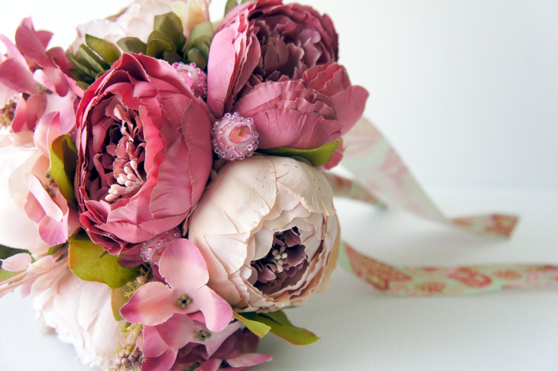 Peony Bridal Bouquet Shades Of Pink Silk Wedding Flowers