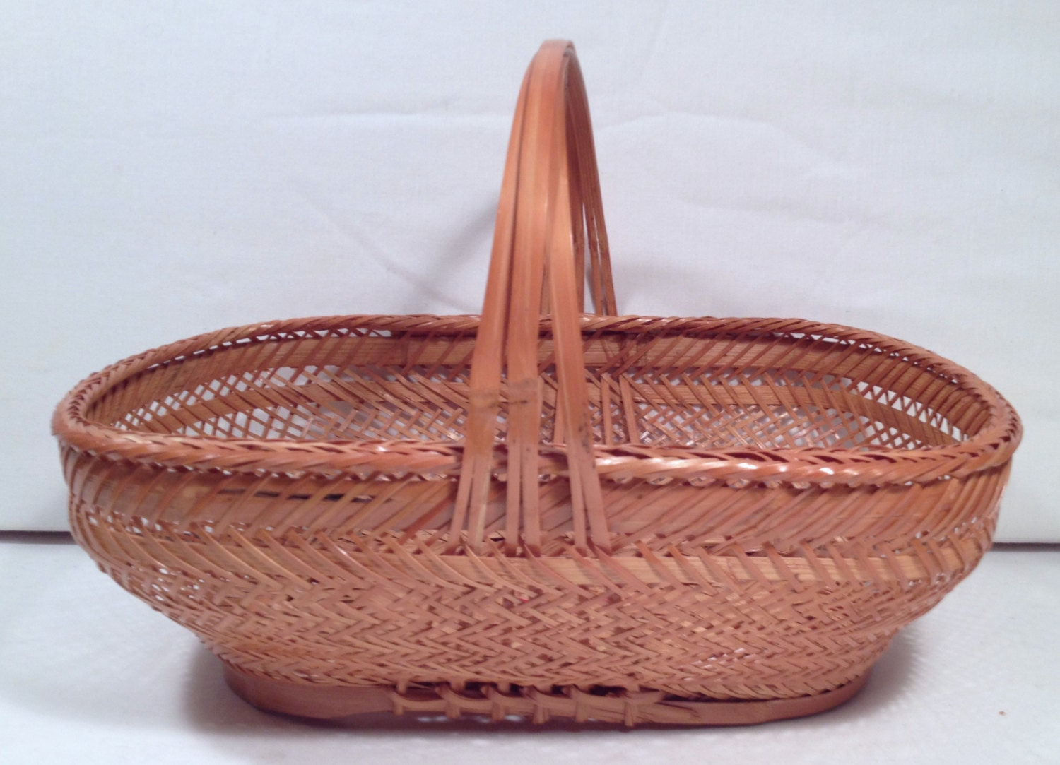 Woven Gathering Basket : Gathering basket vintage lacquered woven bamboo reed