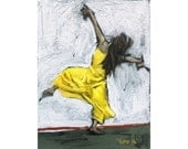 original painting / acrylic on canvas / woman portrait ( Dance #2 ) / 8X6 inches ( 20X15 cm )