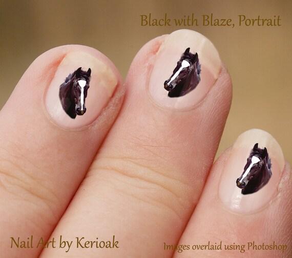 Black Horse Portrait Nail Art Stickers Equine Nail Art