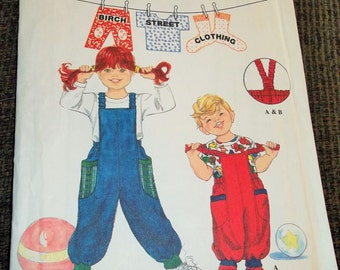 Vintage 1994 Simplicity 9133 Sewing Pattern Child's Overalls and Top Size AA 2 - 3 - 4
