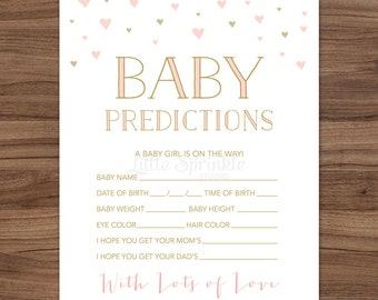 Baby Girl Prediction Card Pink Gold Hearts / Baby Girl Shower Game / Pink Gold Baby Shower Game / Printable Digital / INSTANT DOWNLOAD