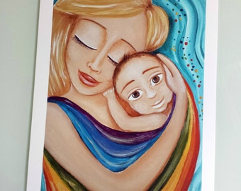 """Babywearing: High quality archival print of the original acrilic painting """"May my hug be with you forever"""""""