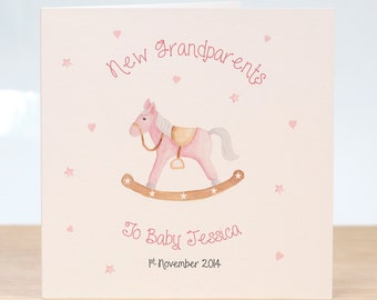 Personalised Grandparents Card - New Grandparents Card - New grandmother Card - New Grandfather Card - Rocking Horse Card