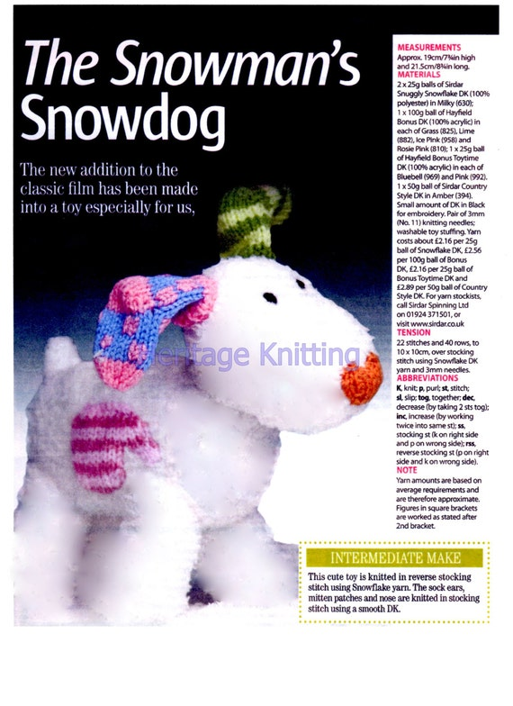 the snowmans snow dog toy dk knitting pattern 99p from Heritageknitting1 on E...