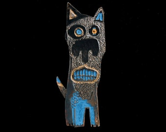Handmade Sterling Silver Dog Brooch Pin, LEOPOLD, Patinated, Hand Painted, Hand Engraved, Contemporary Silver, Wearable Art