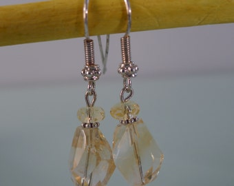 Sterling Silver Dangling Citrine Earrings