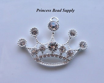 Silver Princess Crown Tiara Rhinestone Pendant for Chunky Necklaces, 50mm x  38mm crown Pendant, Chunky Pendant