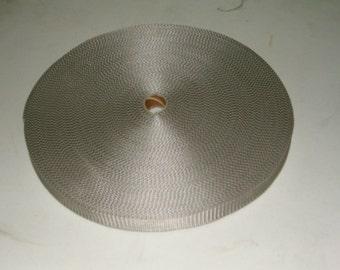 "Lightweight poly webbing 1"" width by the yard silver"