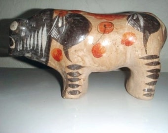 Vintage Ceramic Bull Figurine Folk Art Mexico