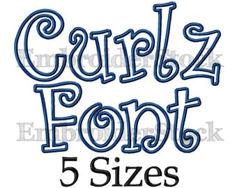 Curlz Applique Font Curlz Font Applique Embroidery Font Curlz Monogram Font Machine Embroidery Fonts For Embroidery - 5 Sizes