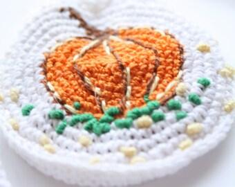 Crossfit Neck Pouch, Drawstring Jewelry Coins Keepsake, white with orange pumpkin, crochet pouch, crochet mini pendant, crocheted bag, farm