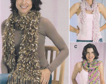 Knitted Scarf Pattern, Scarf Knitting Pattern, Knitted Scarves, Knitted Boa, Trendsetter Yarns Lane Borgosesia Knitted Joy Scarves Pattern