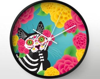 Gato Dia de los Muertos WALL CLOCK