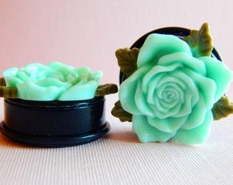 1 1/4 Inch Plugs, Gauges, Blue Roses, Acrylic