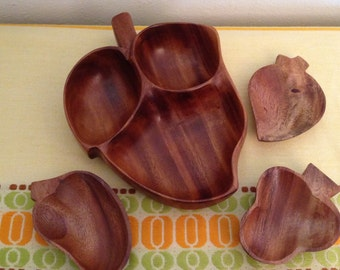 Monkeypod Tiki Vintage Divided Dish with Pod Small Dishes