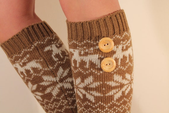 Knitting Pattern For Leg Warmers With Buttons : Knit Leg Warmers with Buttons and Scandinavian Pattern Brown