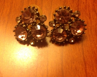 Vintage Purple Jewel Cluster Earrings- Fashion Jewelry
