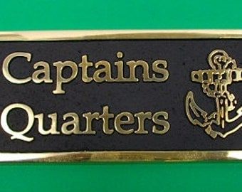 Captains Quarters Humorous Nautical Gift Brass plaque with anchor motif - Hand made in England