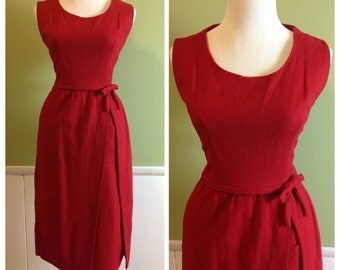 Vintage 50s 60s true real wool wiggle secretary party summer day dress wiggle skirt *42