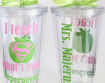 Personalized Teacher Gift, I teach what's your superpower? Teacher gift, Personalized teacher tumbler  Teacher Appreciation Gift