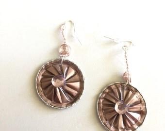 Pretty in Pink Flower Dangle Earrings, Recycled Nespresso Rhinestone Hipster Jewelry, Boho Fashion, Nespresso Jewelry
