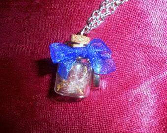 Chain dandelion dandelion wish glass bottle