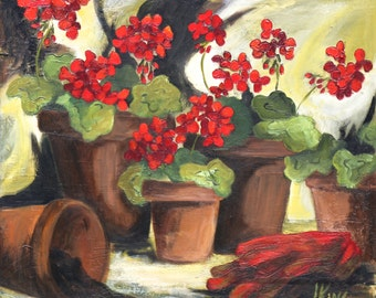 Red Geraniums in Flower Pots - Reproduction Print.