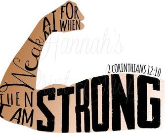 2 Corinthians 12:10 Strength Scripture Typography