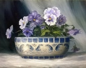 Still Life 10 x 8 inch Oil Painting of Purple Pansies