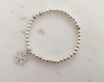 Bracelet Silver Beads with 925 Silver swarovski snowflakes