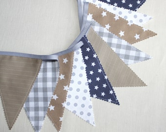 Bunting Fabric Banner, Gray Flags, Fabric Garland, Flags Banner, Baby Shower, Photography prop,  Beige & Gray ,Nursery, Wedding
